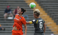 Philadelphia midfielder, Lori Lindsey (8) challenges Sky Blue midfielder, Yael Averbuch (13) for the ball.  The Philadelphia Independence scored three first half goals, and went on to win 4-1 over Sky Blue at John A Farrell Stadium in West Chester, Pennsylvania.