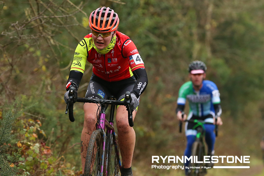 EVENT:<br /> Round 5 of the 2019 Munster CX League<br /> Drombane Cross<br /> Sunday 1st December 2019,<br /> Drombane, Co Tipperary<br /> <br /> CAPTION:<br /> Agnieszka Wozniak of STRATA3/Velo Revolution Racing Team in action during the women's Race<br /> <br /> Photo By: Michael P Ryan