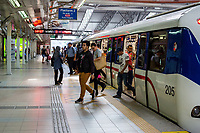 Passengers Leaving LRT (Light Rail Transit) Train at KL Sentral Station, Kuala Lumpur, Malaysia.