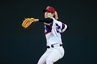 Winston-Salem Rayados relief pitcher Isaiah Carranza (20) in action against the Llamas de Hickory at Truist Stadium on July 6, 2021 in Winston-Salem, North Carolina. (Brian Westerholt/Four Seam Images)