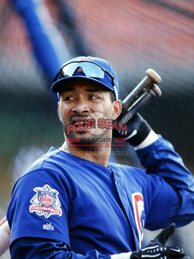 Henrey Rodriguez of the Chicago Cubs before a 1999 Major League Baseball season game against the Los Angeles Dodgers in Los Angeles, California. (Larry Goren/Four Seam Images)