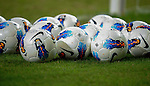 Nike's soccer balls are pictured before the Asia Trophy pre-season friendly match between Chelsea and Aston Villa at the Hong Kong Stadium on July 30, 2011 in So Kon Po, Hong Kong. Photo by Victor Fraile / The Power of Sport Images