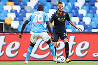 Kalidou Koulibaly of SSC Napoli and Marko Pjaca of Genoa CFC compete for the ball<br /> during the Serie A football match between SSC Napoli and Genoa CFC at stadio San Paolo in Napoli (Italy), September 27, 2020. <br /> Photo Cesare Purini / Insidefoto