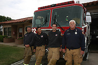 May, Point Loma San Diego, CA, USA.  Fire fighter- Paramedics Matt Spicer, Kevin Wakashige and Tim Olson stand in front of Fire Station 22's brand new fire truck with Capt. George Uzdavines.  The station took delivery of one of eight brand new 2007 KME Predator Type I Fire Engines that San Diego ordered in 2007.  Each truck, built in Nesquehoning, PA costs roughly $582K including communications, firefighting and medical equipment.
