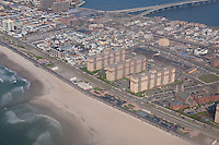 Aerial view of Rockaway beach boardwalks in Queens, NY