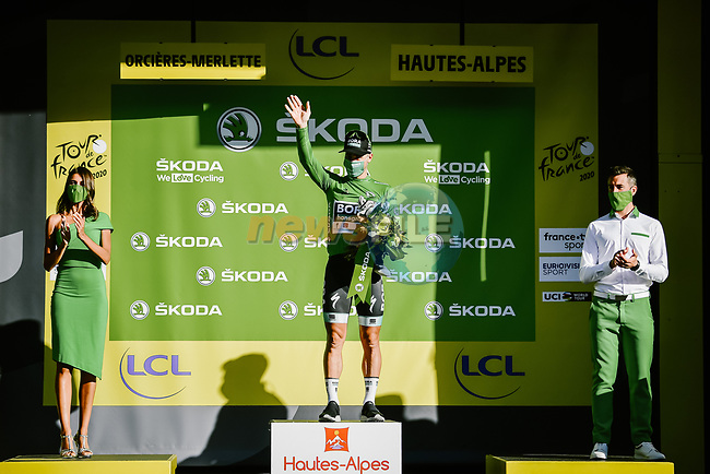 Peter Sagan (SVK) Bora-Hansgrohe retains the Green Jersey at the end of Stage 4 of Tour de France 2020, running 160.5km from Sisteron to Orcieres-Merlette, France. 1st September 2020.<br /> Picture: ASO/Pauline Ballet | Cyclefile<br /> All photos usage must carry mandatory copyright credit (© Cyclefile | ASO/Pauline Ballet)