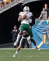 Miami wide receiver Stacy Coley makes a catch. The Miami Hurricanes football team defeated the Pitt Panthers 29-24 on  Friday, November 27, 2015 at Heinz Field, Pittsburgh, Pennsylvania.