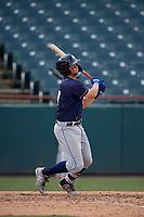 Binghamton Rumble Ponies David Thompson (17) bats during an Eastern League game against the Bowie Baysox on August 21, 2019 at Prince George's Stadium in Bowie, Maryland.  Bowie defeated Binghamton 7-6 in ten innings.  (Mike Janes/Four Seam Images)