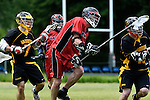GER - Hannover, Germany, May 30: During the Men Lacrosse Playoffs 2015 match between HTHC Hamburg (black) and DHC Hannover (red) on May 30, 2015 at Deutscher Hockey-Club Hannover e.V. in Hannover, Germany. Final score 17:2. (Photo by Dirk Markgraf / www.265-images.com) *** Local caption ***?Philipp Demmer #4 of DHC Hannover
