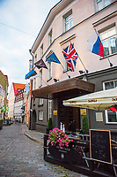 Estonia, Tallinn, Old town, UNESCO World Heritage Site. St Petersbourg Hotel, the oldest operating hotel in Tallinn, from 14th century. Redesigned by Andrew Martin, British Design agency.