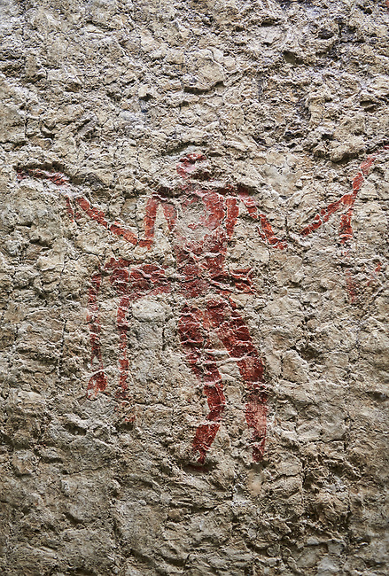Detail of wall fresco depicting figure moving wearing a leopard costume. 6000 BC. Catalhoyuk Collections. Museum of Anatolian Civilisations, Ankara