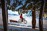 People enjoy their time on a snowy day in Istanbul, Turkey, on January 18, 2021. Photo by Atia Darwish