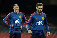 Spain's Rodrigo (L) during the pre-International Friendly training session of the Spain squad at the Principality Stadium, Cardiff, UK. Wednesday 10 October 2018