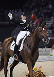 Isabell Werth and Warum Nicht FRH of Germany perform their Freestyle Dressage in the Grand Prix Freestyle Dressage competition at the Alltech World Equestrian Games in Lexington, Kentucky.