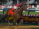 Last Gunfighter, ridden Javier Castellano, wins the Pimlico Special on Black-Eyed Susan Day at Pimlico Race Course in Baltimore, Maryland on May 17, 2013.