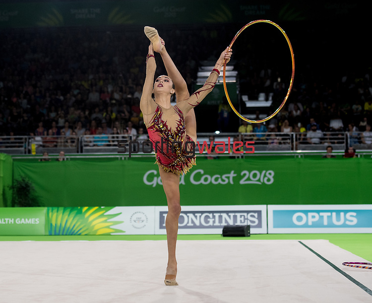 Gemma Frizelle in action during the Hoop Final <br /> <br /> *This image must be credited to Ian Cook Sportingwales and can only be used in conjunction with this event only*<br /> <br /> 21st Commonwealth Games - Rhythmic Gymnastics - Team Final & Individual Qualification -  Day 9 - 13\04\2018 - Coomera Indoor Sports Centre - Gold Coast City - Australia