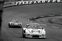 #11 Porsche 935 of Bruce Canepa, Rick Mears, and Monte Shelton, 3rd place,  and #37 Porsche Carrera of  Honorato Espinosa, Francisco Lopez, and Jorge Cortes, 12th place,  24 Hours of Daytona, Daytona International Speedway, Daytona Beach, FL, February 1979. (Photo by Brian Cleary/bcpix.com)