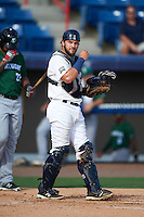Brevard County Manatees catcher Dustin Houle (9) during a game against the Daytona Tortugas on August 14, 2016 at Space Coast Stadium in Viera, Florida.  Daytona defeated Brevard County 9-3.  (Mike Janes/Four Seam Images)