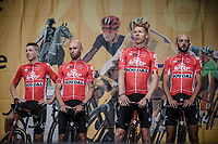 Team Lotto Soudal Team Presentation with Jens Keukeleire (BEL), Tomasz Marczynski (POL), Marcel Sieberg (GER) and Jelle Vanendert (BEL)<br /> <br /> Le Grand Départ 2018<br /> 105th Tour de France 2018<br /> ©Kramon