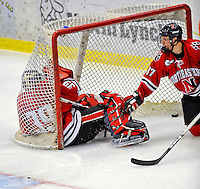 19 January 2008: Northeastern University Huskies' goaltender Brad Thiessen, a Sophomore from Aldergrove, British Columbia, falls into the net, well off its moorings, during a game against the University of Vermont Catamounts at Gutterson Fieldhouse in Burlington, Vermont. The Catamounts defeated the Huskies 5-2 to close out their 2-game weekend series...Mandatory Photo Credit: Ed Wolfstein Photo