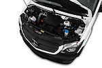 Car Stock 2017 Mercedes Benz Sprinter 2500-144-WB-High-Roof 4 Door Cargo Van Engine  high angle detail view