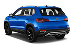 Car pictures of rear three quarter view of 2022 Volkswagen Taos SEL 5 Door SUV Angular Rear