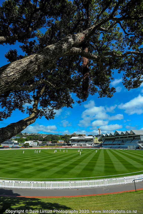 A general view during day four of the Plunket Shield match between the Wellington Firebirds and Canterbury at Basin Reserve in Wellington, New Zealand on Thursday, 22 October 2020. Photo: Dave Lintott / lintottphoto.co.nz