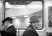 Montreal (Qc) CANADA - May 1984- two old men sit inside a Montreal subway TR-66 wagon