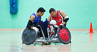 15 AUG 2011 - LEEDS, GBR - Canada's Mike Whitehead (right) finds his way blocked by Great Britain's Mandip Sehmi during the wheelchair rugby exhibition match between the two teams .(PHOTO (C) NIGEL FARROW)
