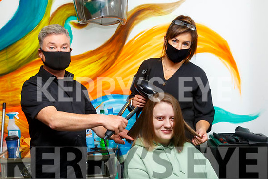 Changes: Tara O'Shea, Listowel having her trimmrd styled and coloured at Changes Hair Salon, Listowel with Danny Russell & Iwona Michalak on Monday last.