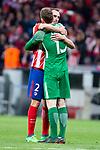 Atletico de Madrid Diego Godin and Gabi Fernandez during Europa League Semi Finals First Leg match between Atletico de Madrid and Arsenal FC at Wanda Metropolitano in Madrid, Spain. May 03, 2018.  (ALTERPHOTOS/Borja B.Hojas)