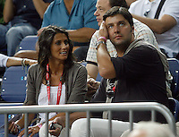 Dejan Bodiroga former Serbian national team player with his wife  during the quarter-final World championship basketball match in Istanbul, USA-Russia, Turkey on Thursday, Sep. 09, 2010..