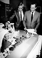 Ontario's place, Premier David Peterson and British Columbia Premier Bill Bennett study a model of Ontario's Expo 86 pavilion at Queen's Park yesterday. The Vancouver world's fair opens next month, and the two men agreed it would be an ideal time for first ministers to meet for free trade talks.<br /> <br /> Photo : Boris Spremo - Toronto Star archives - AQP