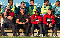 Swansea coaching team (l-r) Assistant Coach Nigel Gibbs, Swansea City Manager Paul Clement, Assistant Coach Claude Makelele & Coach Karl Halabi during the 2017/18 Pre Season Friendly match between Barnet and Swansea City at The Hive, London, England on 12 July 2017. Photo by Andy Rowland.