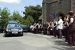 Mourners at the funeral of Stuart Cable at St Elvan's Church in the centre of Aberdare today. The former Stereophonics drummer was found dead at his home on 7th June.