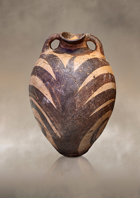 Minoan Kamares Ware amphora  jug with polychrome  palm leaf decorations , Phaistos 1900-1700 BC; Heraklion Archaeological  Museum.<br /> <br /> This style of pottery is named afetr Kamares cave where this style of pottery was first found