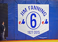 2 April 2016: A banner is unfurled to commemorate the career and life of Jim Fanning prior to a pre-season exhibition series between the Blue Jays and the Boston Red Sox at Olympic Stadium in Montreal, Quebec, Canada. The Red Sox defeated the Blue Jays 7-4 in the second of two MLB weekend games, which saw a two-game series attendance of 106,102 at the former home on the Montreal Expos. Mandatory Credit: Ed Wolfstein Photo *** RAW (NEF) Image File Available ***
