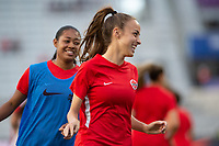 ORLANDO, FL - FEBRUARY 21: Samantha Chang #8 of the CANWNT warms up before a game between Argentina and Canada at Exploria Stadium on February 21, 2021 in Orlando, Florida.