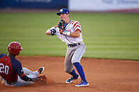 Lexington Legends second baseman Corey Toups (2) turns a double play as Dale Carey (20) slides in during a game against the Hagerstown Suns on May 22, 2015 at Whitaker Bank Ballpark in Lexington, Kentucky.  Lexington defeated Hagerstown 5-1.  (Mike Janes/Four Seam Images)