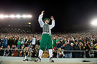 November 19, 2011; The Notre Dame mascot Leprechaun cheers during the game against Boston College. Photo by Barbara Johnston/University of Notre Dame.