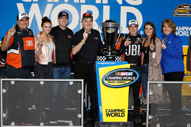 NASCAR Camping World Truck Series<br /> Ford EcoBoost 200<br /> Homestead-Miami Speedway, Homestead, FL USA<br /> Friday 17 November 2017<br /> Champion Christopher Bell, JBL Toyota Tundra celebrates in victory lane with Crew Chief Rudy Fugle, Team owners Kyle and Samantha Busch, Bob Carter of Toyota, and girlfriend Morgan<br /> World Copyright: Michael L. Levitt<br /> LAT Images