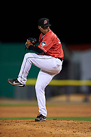 Batavia Muckdogs pitcher Geremy Galindez (34) during a NY-Penn League game against the Lowell Spinners on July 11, 2019 at Dwyer Stadium in Batavia, New York.  Batavia defeated Lowell 5-2.  (Mike Janes/Four Seam Images)