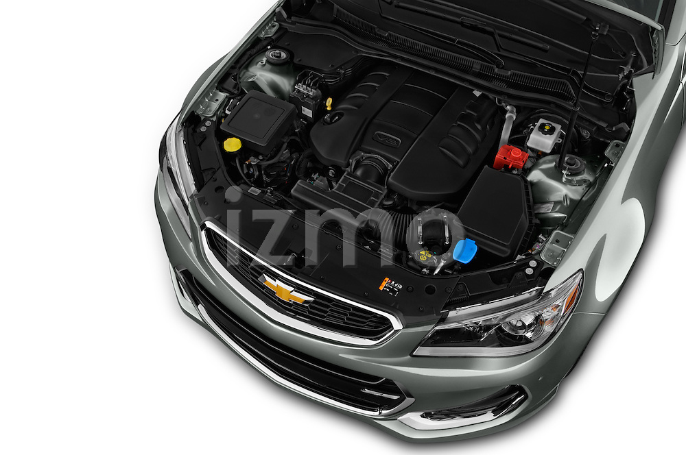 Car Stock 2017 Chevrolet SS 6.2 4 Door Sedan Engine  high angle detail view