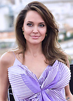 """ROME, ITALY - OCTOBER 07: Angelina Jolie attends the photocall of the movie """"Maleficent – Mistress Of Evil"""" at Hotel De La Ville on October 07, 2019 in Rome, Italy."""