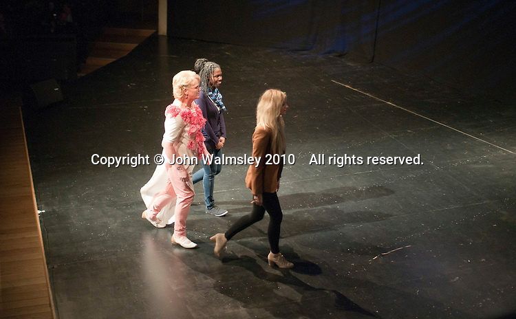 """Athletes (with the student designers) from the Special Olympics team model clothes designed for them by fashion students from Kingston College. Special Olympics Surrey put on a show,   """"Beyond the Stars"""", at the Rose Theatre, Kingston upon Thames to raise money for the  SOGB team.  The Special Olympics are for athletes with learning disabilities."""