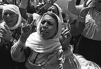 Israel, March and April 1987  ..A trip through Israel and its occupied territories during the first Intifada, Palestinian uprising in 1987.  Palestinian women demonstrating against the imprisonment of their men in israel...Photo Kees Metselaar