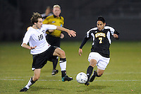 Patrick O'Neil (18) of the Princeton Tigers and Nirav Kadam (7) of the UMBC Retrievers. UMBC Retrievers defeated Princeton Tigers 2-1 during the first round of the 2010 NCAA Division 1 Men's Soccer Championship at Roberts Stadium in Princeton, NJ, on November 18, 2010.