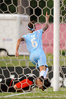 Natasha Kai (6) of Sky Blue FC celebrates scoring as Washington Freedom goalkeeper Erin McLeod (18) lays on the ground. Sky Blue FC and the Washington Freedom played to a 4-4 tie during a Women's Professional Soccer match at Yurcak Field in Piscataway, NJ, on July 15, 2009.