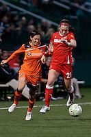 Brittany Bock (21) of The Western New York Flash, right and Therese Sjögran (11) of Sky Blue FC. The Western New York Flash defeated Sky Blue FC 3-1 in Women's Professional Soccer (WPS) at Sahlen's Stadium in Rochester, NY May 06, 2011.