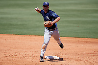 Charlotte Stone Crabs second baseman Brandon Lowe (5) throws to first base during a game against the Bradenton Marauders on April 9, 2017 at LECOM Park in Bradenton, Florida.  Bradenton defeated Charlotte 5-0.  (Mike Janes/Four Seam Images)